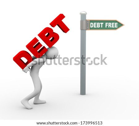 3d illustration of person carrying word debt toward debt free zone pointed by road sign post.  3d rendering of human people character. - stock photo