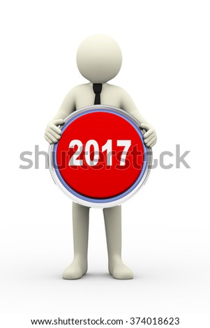 3d Illustration of person holding 2017 button. 3d rendering of human people character - stock photo