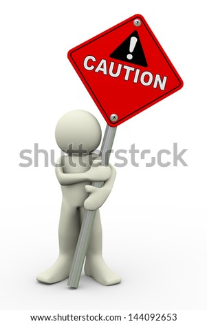 3d illustration of person holding road sign of caution. 3d rendering of people human character. - stock photo