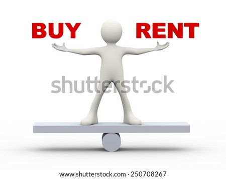 3d illustration of person holding words buy and rent. 3d human person character and white people - stock photo