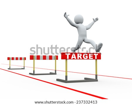 3d illustration of person jumping over target track of hurdle obstacle. 3d rendering of people - human character. - stock photo