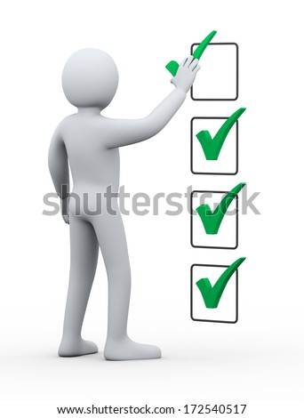 3d illustration of person placing green right tick check mark symbol.  3d rendering of human people character. - stock photo