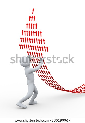 3d illustration of person pushing arrow upward, create with small arrows.  - stock photo