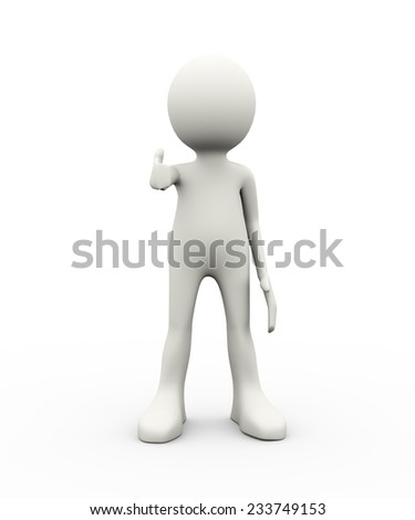 3d illustration of person showing thumb up. 3d human person character white people gesture - stock photo