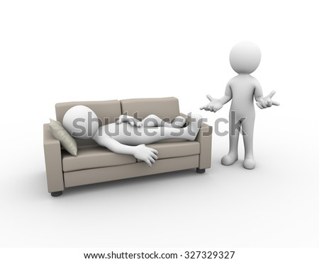 3d illustration of person sleeping on sofa while another man with no idea gesture. family problem, people conflict and dispute - stock photo