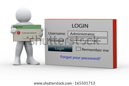 3d illustration of person standing with login window and holding invalid login password message. 3d rendering of people - human character. - stock photo