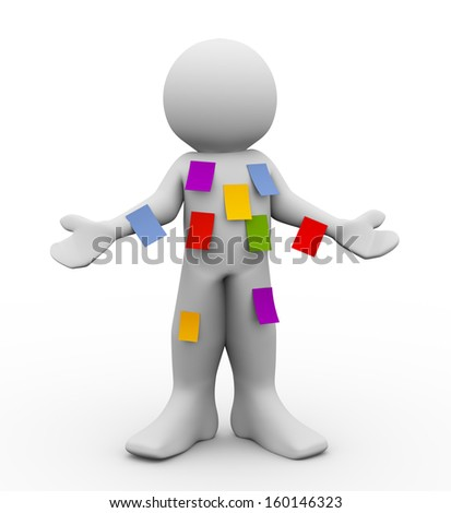 3d illustration of person with different blank sticky notes.  Concept of multitasking. 3d rendering of people - human character. - stock photo