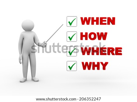 3d illustration of person with stick and various question word check mark list. 3d human person character and white people - stock photo