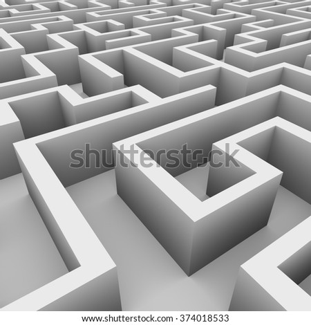 3d illustration of perspective view of complicated endless maze - stock photo