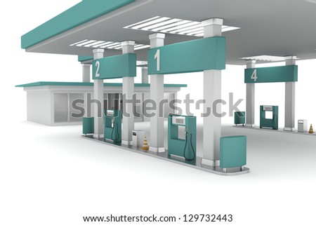 3d illustration of petrol station - stock photo