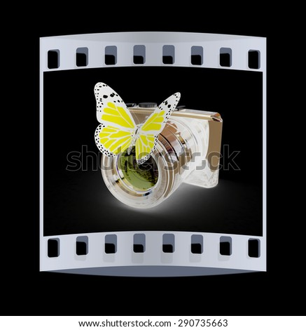 3d illustration of photographic camera and butterfly on black background. The film strip - stock photo