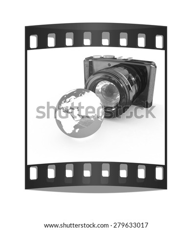 3d illustration of photographic camera and Earth on white background. The film strip - stock photo