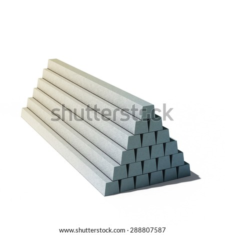 3d illustration of pile of concrete items isolated on white background - stock photo