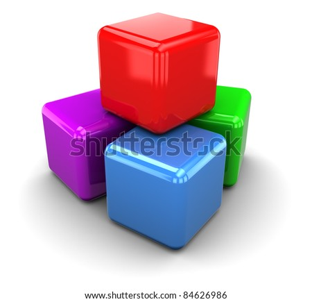3d illustration of plastic colorful cubes, over white background - stock photo