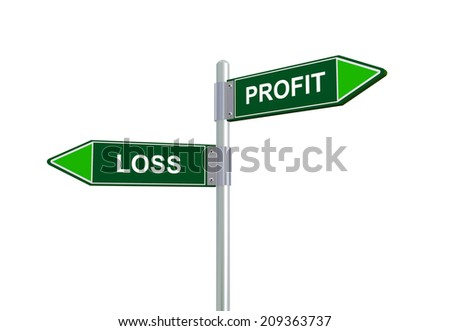 3d illustration of profit and loss road sign.  - stock photo