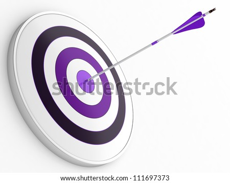3D illustration of purple arrow hitting targets bullseye - stock photo