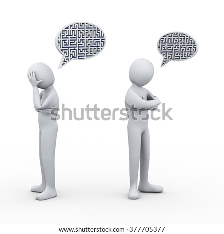 3d illustration of puzzle maze bubble speech and man having conflict and dispute with another person. 3d rendering of people - human character - stock photo