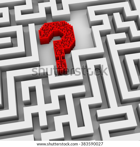 3d illustration of question mark symbol sign in the maze - stock photo