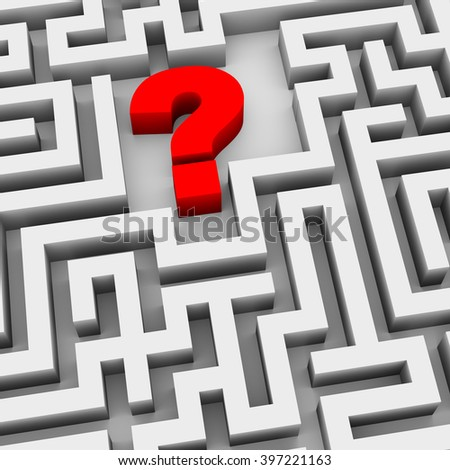 3d illustration of question mark symbol sign in the maze labyrinth - stock photo