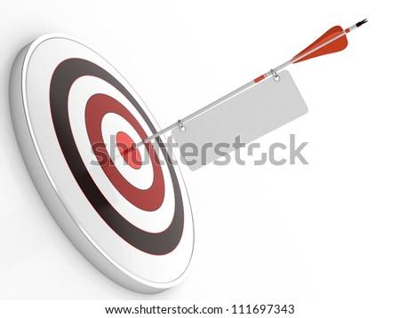 3D illustration of red arrow hitting targets bullseye - stock photo