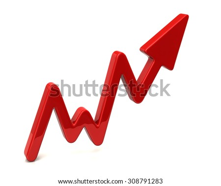 3d illustration of red business graph arrow - stock photo