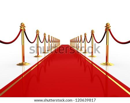3d illustration of red carpet over white background - stock photo
