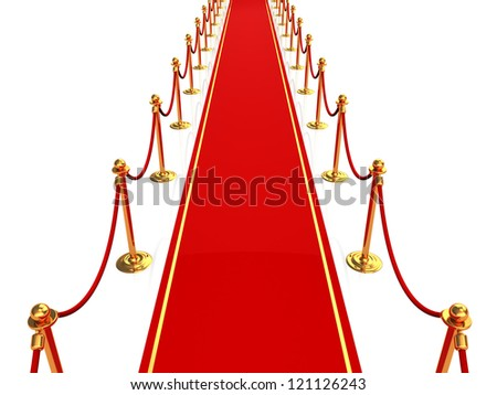 3d illustration of red carpet, top view - stock photo