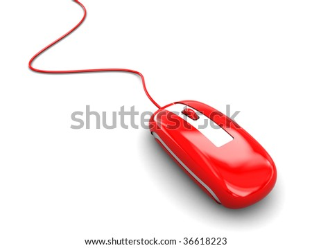 3d illustration of red computer mouse over white background - stock photo