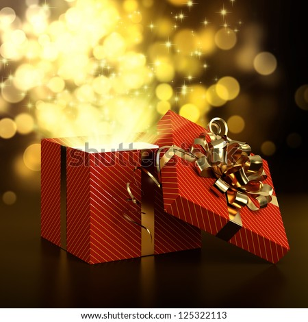 3D illustration of red gift box on dark background with golden bokeh - stock photo