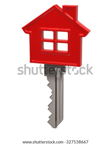 3d illustration of red house key - stock photo