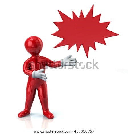 3d illustration of red man and bursting star isolated on white background - stock photo
