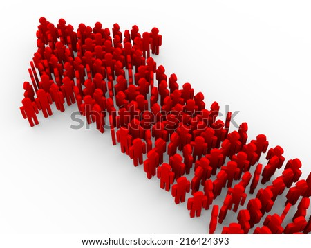 3d illustration of red people creating arrow shape. Concept of teamwork, leader, leadership, success and growth - stock photo