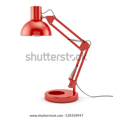 3d illustration of red table lamp isolated on white background - stock photo