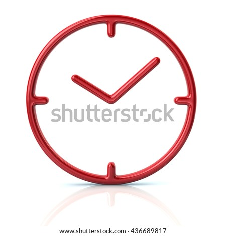 3d illustration of red time icon isolated on white background - stock photo