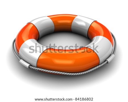 3d illustration of rescue circle over white background - stock photo