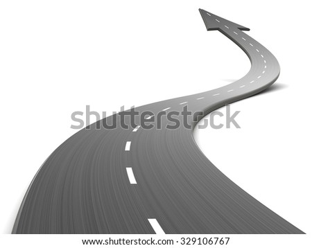 3d illustration of road forward, over white background - stock photo