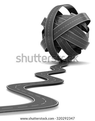3d illustration of road knot over white background - stock photo