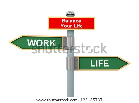 3d illustration of road signs of words life, work and balance your life - stock photo