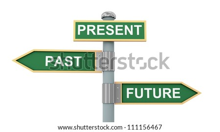 3d illustration of road signs of words past present and future - stock photo