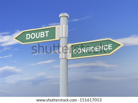 3d illustration of roadsign of words doubt and confidence - stock photo