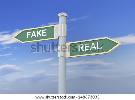 3d illustration of roadsign of words fake and real - stock photo