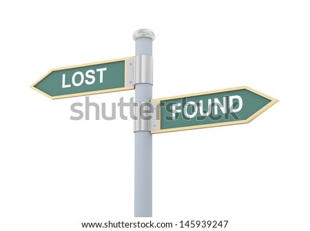 3d illustration of roadsign of words lost and found - stock photo