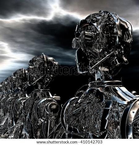 3D Illustration of Robots - stock photo
