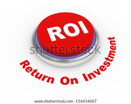 3d illustration of roi (return on investment) button - stock photo
