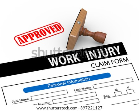 3d illustration of rubber stamp and approve work injury claim form - stock photo