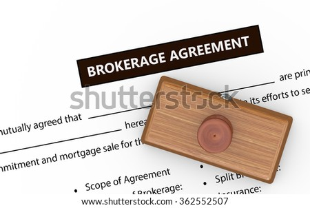3d illustration of rubber stamp on brokerage agreement document - stock photo