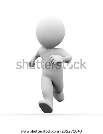 3d illustration of running man on white background.  3d rendering of human people character - stock photo