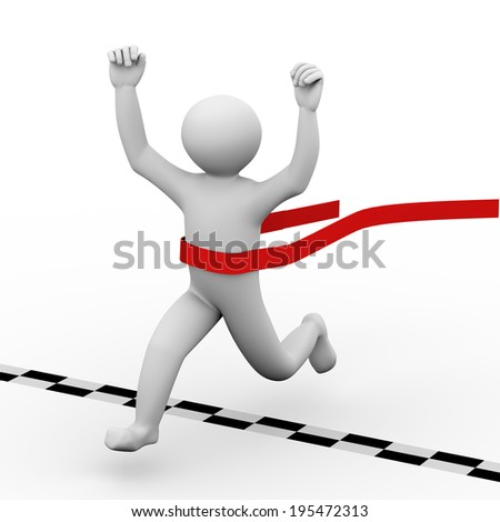 3d illustration of running winning man crossing finish line. 3d human person character and white people. - stock photo