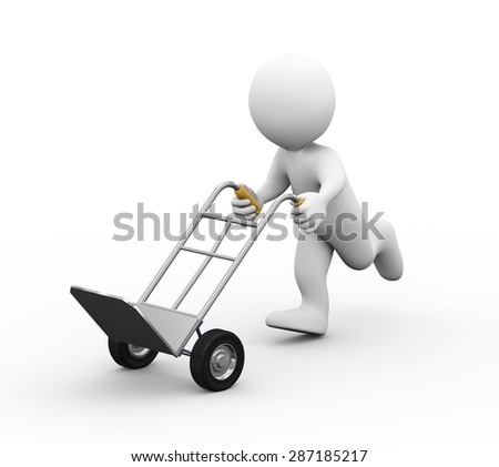 3d illustration of running with hand truck.  3d rendering of human people character - stock photo