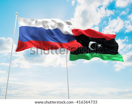 3D illustration of Russia & Libya Flags are waving in the sky - stock photo